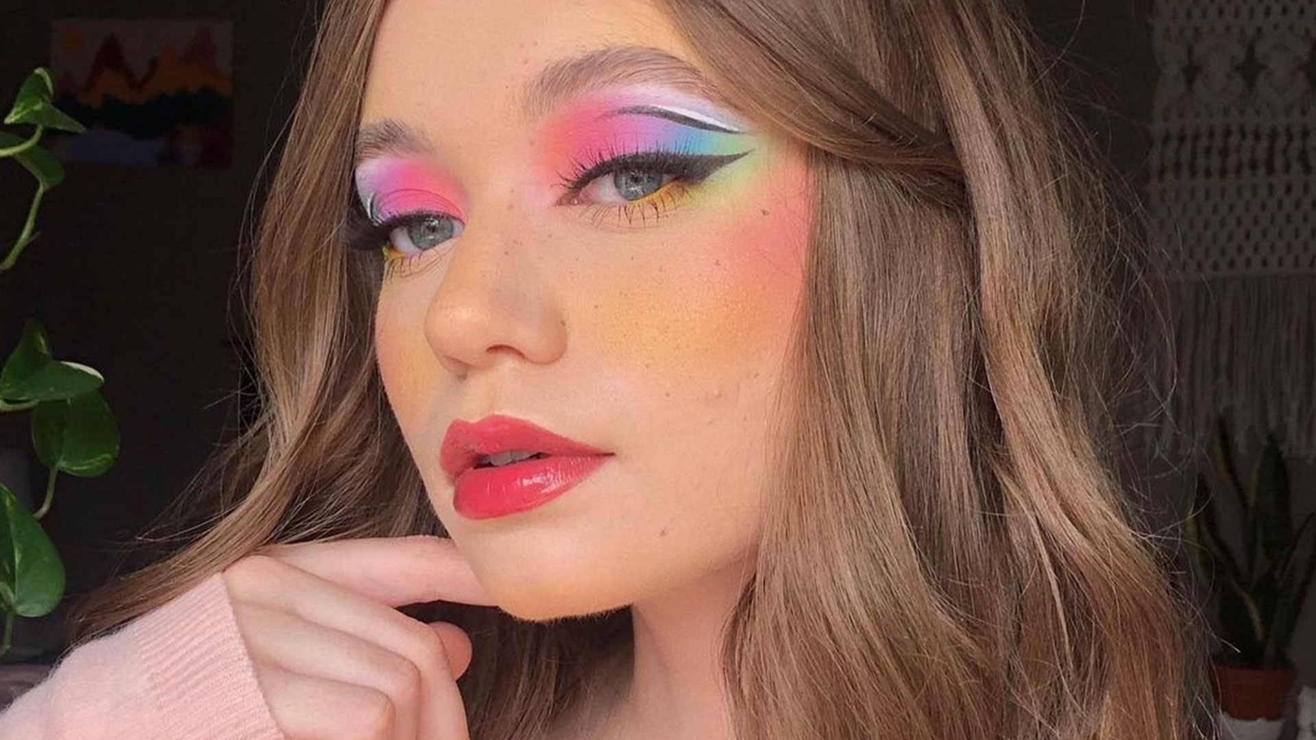 pastel rainbow eyeshadow look